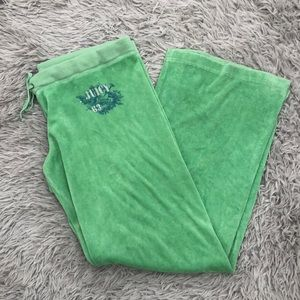 NWOT Juicy Couture Terry Cloth Lime Green L Pants